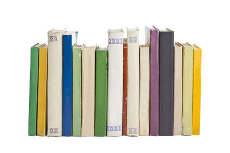 Old books in a row, all hardbacks some with leather covers Stock Photo - 6674691