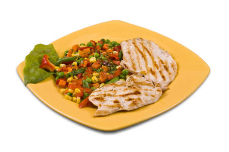 Grilled chicken breast with Chopped Mixed Vegetables isolated in white photo