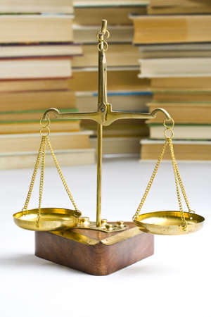law business: justice concept, book and scales of justice  Stock Photo