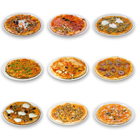 collection of pizza, isolated in white. See larger versions of each image separately in my portfolio