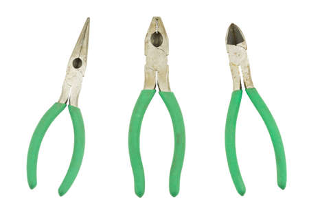 pliers with green handles isolated on white Stock Photo - 6939978