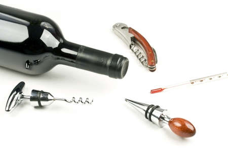 rosewood: Rosewood Handle Corkscrews, wine bottle, wine thermometer and Stoppers Combo Isolated On White