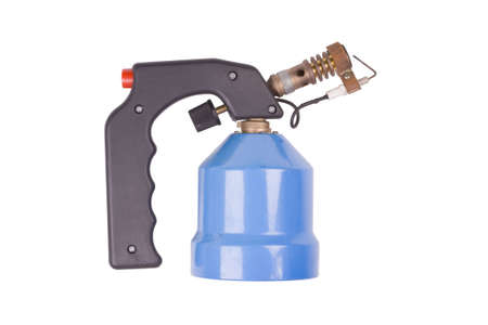 blowtorch: New blue blowtorch isolated on white background.