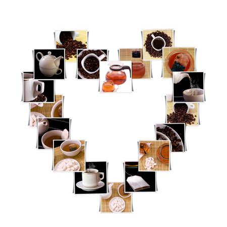 evaporarse: Fotos de caf� & t� en forma de coraz�n aislado en blanco