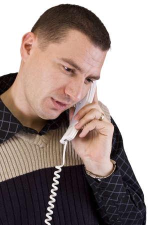 uomo con un telefono cellulare in mano isolato in sfondo bianco Archivio Fotografico - 7148805