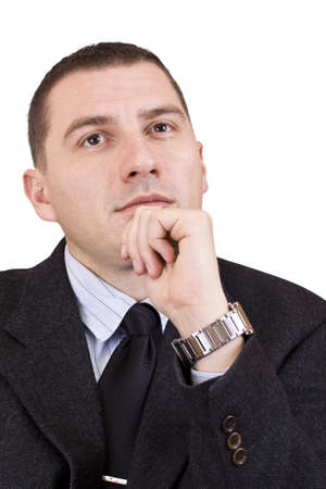 young business man contemplating over white background Stock Photo - 7148799