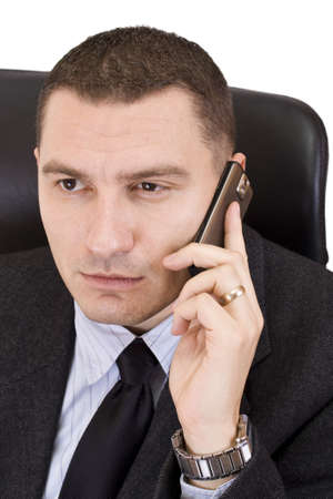 Business man on a mobile phone - isolated on white Stock Photo - 7148800