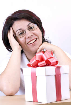business surprised woman looking a gift photo