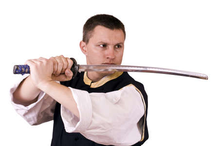 thrilling: Thrilling to see individual open katana a single edged Japanese sword
