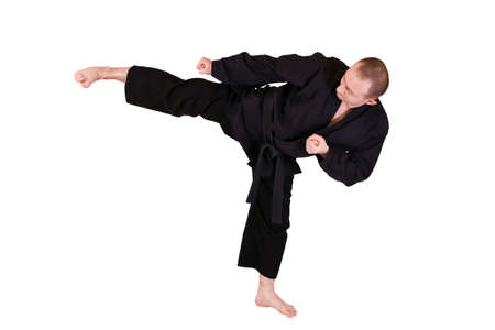 Young Martial artist with his high side kick photo