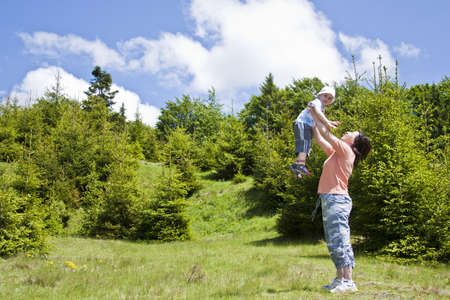 happy mother and boy having fun outdoors Stock Photo - 7221820
