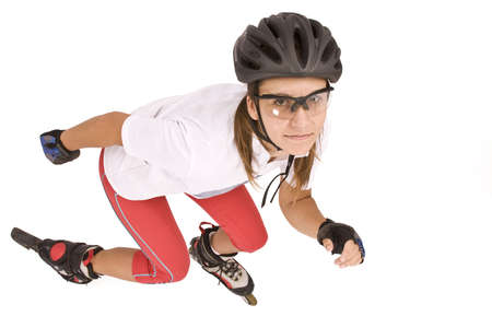 pretty woman on roller skates, isolated in white Stock Photo - 7697933