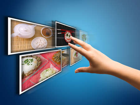 hand selecting images streaming from the deep Stock Photo - 7697983