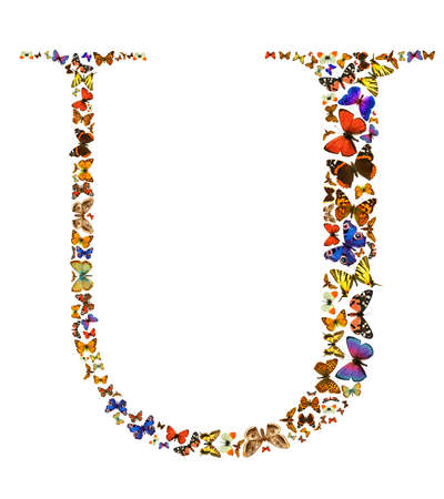 letter u: Butterfly font in white. Letter U Stock Photo