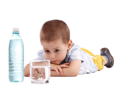 water activity: Boy holding bottle of water isolated on white background