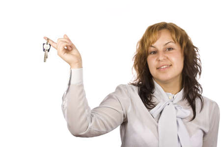 picture of happy woman with key over white Stock Photo - 7894243