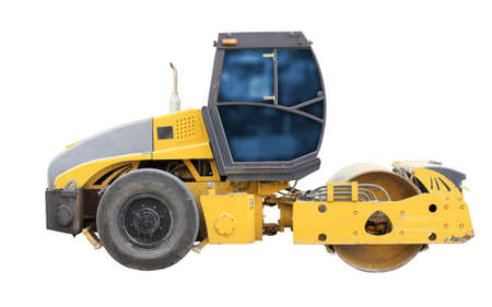 slow lane: The image of road roller under the white background