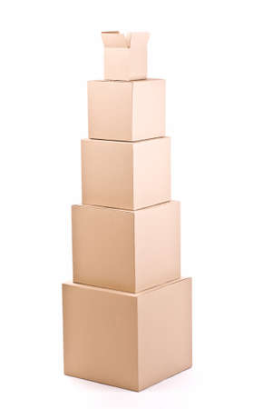 stockpiling: piles of cardboard boxes on a white background