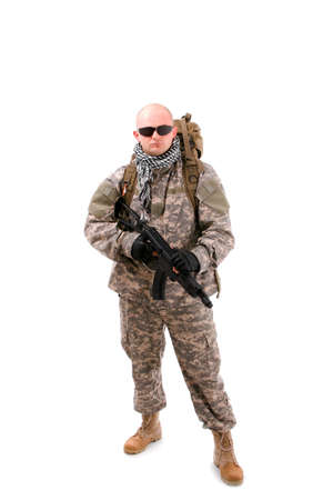 close up of military soldier about to shoot Stock Photo - 8091299