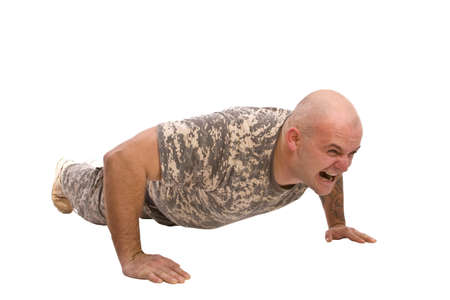 ups: military man exercise isolated in white Stock Photo