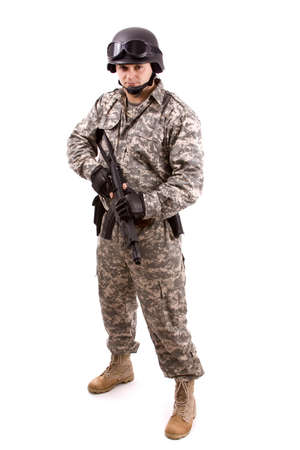 close up of military soldier about to shoot
