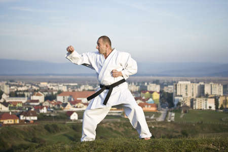 kata: Young adult men practicing Karate outdoor, city in background Stock Photo