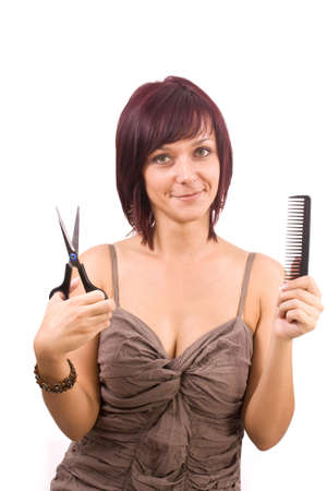 Female cutting and beautifying herself  isolated Stock Photo - 8091846