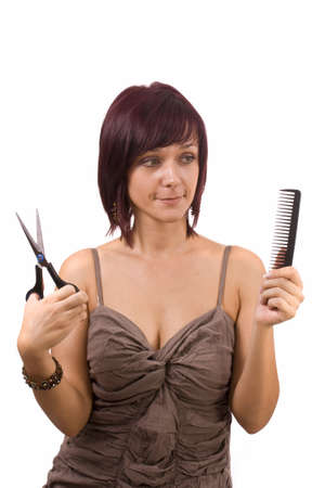 Female cutting and beautifying herself  isolated Stock Photo - 8091814