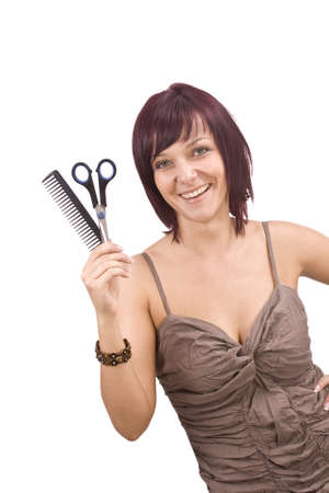 Female cutting and beautifying herself  isolated Stock Photo - 8091766