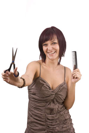 Female cutting and beautifying herself  isolated photo