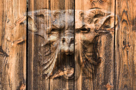 Vintage Wood Background whit monster head photo