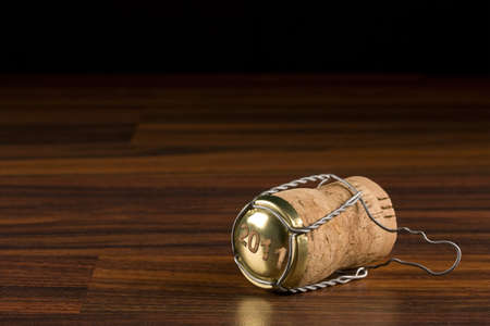 champagne cork in black selective focus  photo