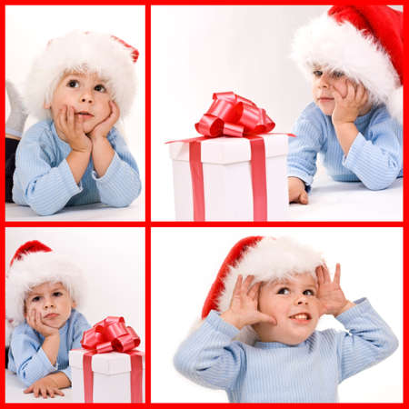 A baby wearing a Santa hat looking at a gift - collage photo