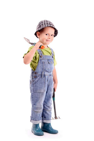 Gardener - boy in working, isolated in white photo