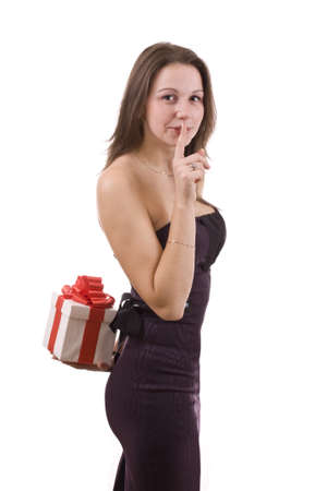 Girl holding a gift , on white background Stock Photo - 8306569