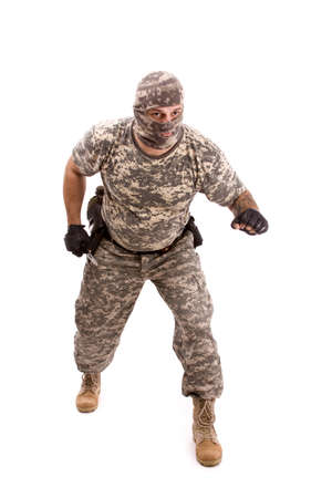 military soldier attack to enemy, isolated in white photo