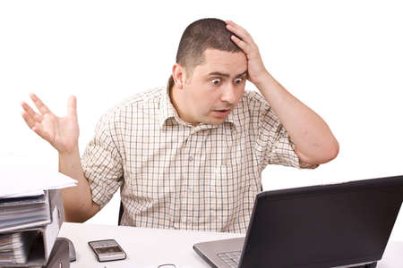 Overload businessman with computer problem on white background.