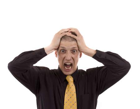 desesperado: Hombre con un traje de golpes a la cabeza y el rugido Foto de archivo