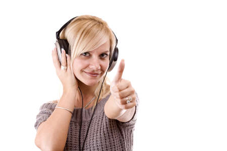 sexy woman smiling whit headphone isolated in white Stock Photo - 8387358
