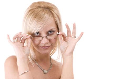 blonde hispanic: Beautiful smiling blonde woman wearing glasses