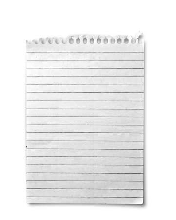 one sheet: Un foglio dal notebook su sfondo bianco