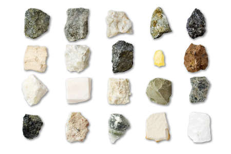 Collection of minerals on white background Stock Photo