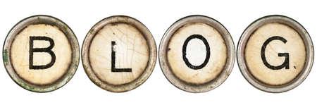 """Blog"" spelled out in old typewriter keys."