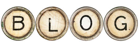 single word: Blog spelled out in old typewriter keys.  Stock Photo
