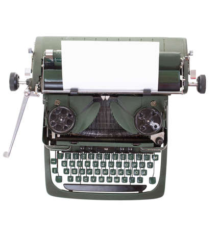 Old vintage typewriter with a blank sheet of paper inserted Stock Photo - 8592376