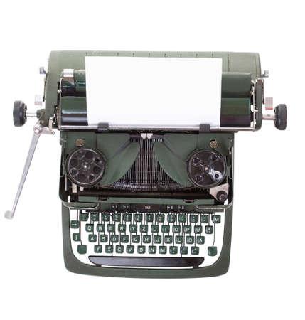 hoja en blanco: Vieja m�quina de escribir vintage con una hoja en blanco de papel insertado