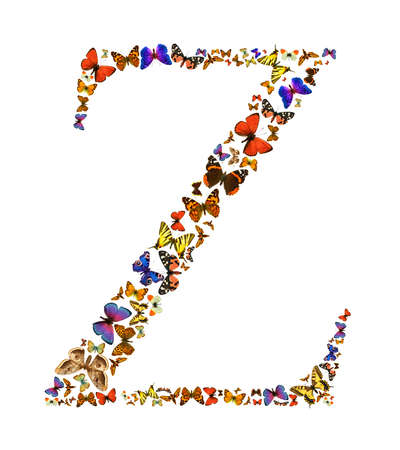blue spotted: Butterfly font in white. Letter Z Stock Photo