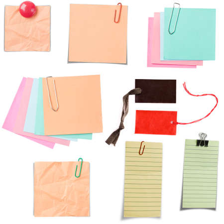 Various note paper isolated in white background photo