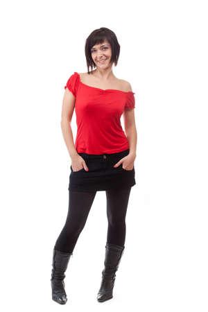 falda corta: Mujer atractiva, lo que plantea, en resumen, falda. Aislados sobre fondo blanco