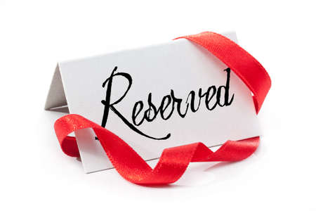 reserved: Reserved, handwritten label, isolated in white Stock Photo